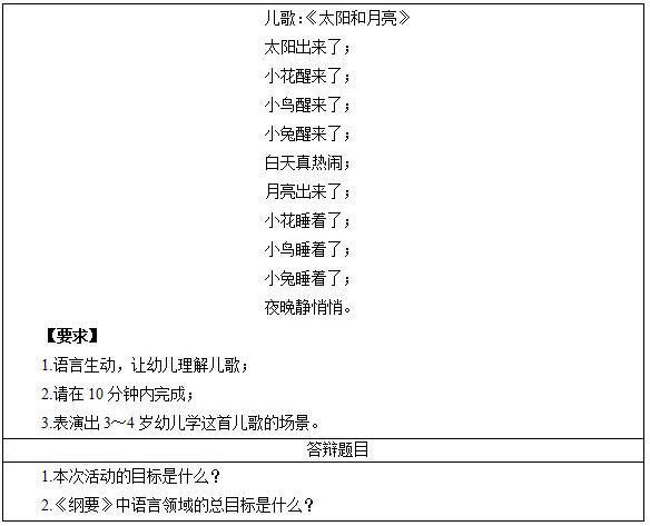 2017年上半年幼儿教师资格证面试真题(5月精